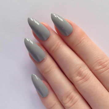Grey Stiletto nails, Nail designs, Nail art, Nails, Stiletto nails, Acrylic nails, Pointy nails, Fake nails