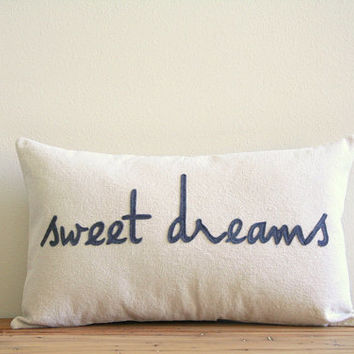 "sweet dreams decorative pillow cover, 12"" x 20"", natural urban farmhouse industrial, nursery decor, typography"