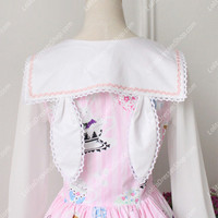 Cute Rabbit Print Dress Vintage Sailor Sweet Lolita Dress