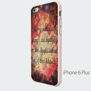 Vc 76 Handmade Finely Printed- She Is Clothed with Strength & Dignity Nebula -Hard Plastic Framed White Fit for Iphone 6 Plus
