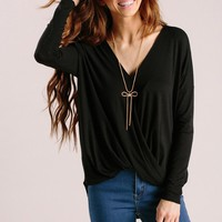 Kathy Black Long Sleeve Surplice Top