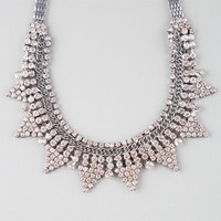 Full Tilt Rhinestone/Chain/Triangle Statement Necklace Hematite One Size For Women 25137618901