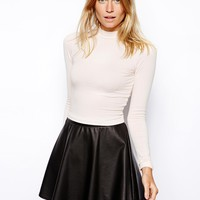 ASOS Crop Top with Long Sleeves and Turtle Neck
