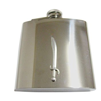 Silver Toned Scimitar Sword 6 Oz. Stainless Steel Flask