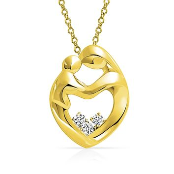 Mother Loving Son Or Daughter Heart Shape Pendant Necklace For Women
