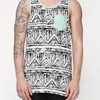 Modern Amusement Boogie Stripe Pocket Tank Top - Mens Tee - White