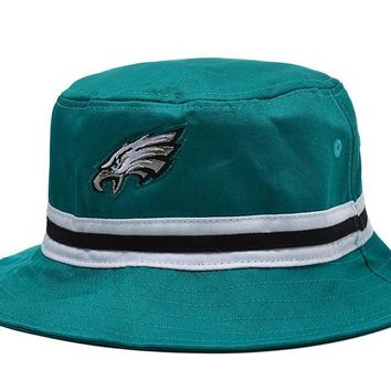 qiyif Philadelphia Eagles Full Leather Bucket Hats Green