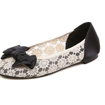 Womens Cute Ballet Lace Flats