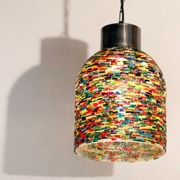 Industrial lamp with an oriental twist - made from multi color bangles