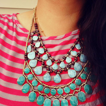 Statement necklace- Afghan necklace- Stone necklace- Turquoise stone silver necklace. Ethnic stone jewelry.Tribal gypsy Nomadic choker