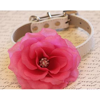 Pink Flora Dog High Quality Collar with Pink flower and Rhinestone, Wedding dog accessory