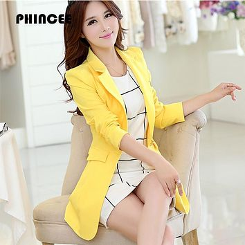 Hot Notched single Button Long Women Blazers 2017 Spring Autumn long sleeve Jackets and coats slim solid suits female outerwear