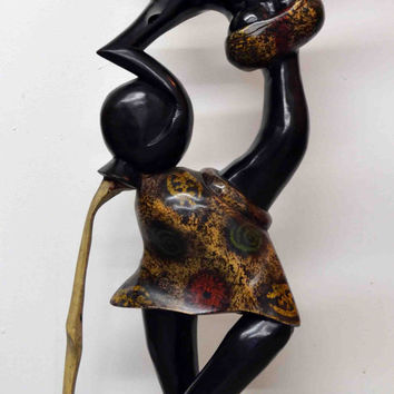 Art, African Art, Handmade, Carved, Wood, Family, Tribal, Afrocentric, African American, Sculptures, Abstract Art, Water Carrier