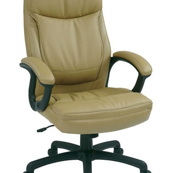 Office Star Executive High Back Tan Bonded Leather Chair with Locking Tilt Control and Color Match Stitching [EC6583-EC21]
