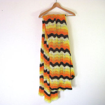 vintage orange, brown and yellow chevron striped afghan // blanket throw