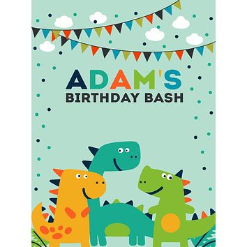 Custom Dinosaur Polka Dot Birthday Bash Backdrop (Any Color) Background - C0276