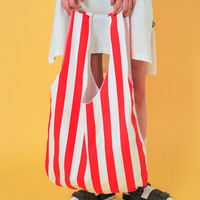 Striped Open Top Tote Bag