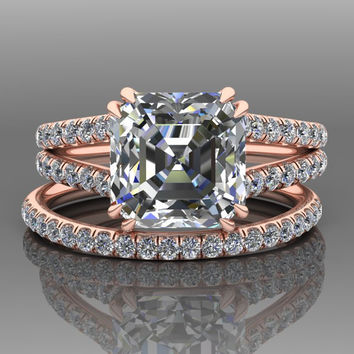 Ascher Cut Moissanite Engagement Set / Forever One Wedding Set / Diamond 18K Rose Gold Split Shank Bridal Set / Wedding Rings RE00181R