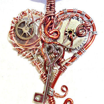 Mechanical Wire Wrap Heart Steampunk Pendant With Key Charm