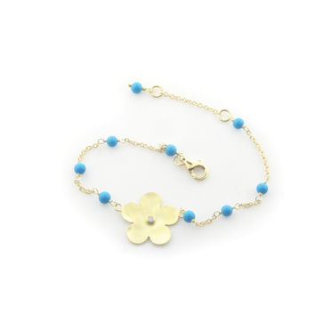 Hammered Gold Plated Sterling Silver Flower of Life & Turquoise Beads Chain Bracelet for Girls, 6""