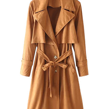 Brown Lapel Single-Breasted Tie Waist Faux Suede Trench Coat