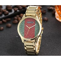 GUCCI 2018 men and women red and green striped waterproof quartz watch F-JYXCX-Y gold