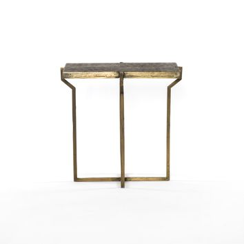 BEATRICE END TABLE-EMBOSSED BRASS