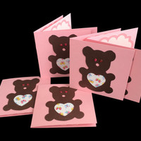 "Pink Teddy Bear Mini Cards, Set of 6, Baby Shower, Birthday, Invitations, Gift Tags, Baby Nursery Cards, 3"" x 3"" Note Cards, Blank Inside"