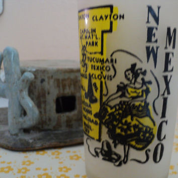 New Mexico Souvenir Frosted Glass Tumbler State of New Mexico Map 1950's Memorabilia Hazel Atlas Glass Company