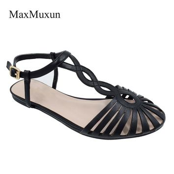 2017 Summer Fashion Leather Ladies Flat Sandals Peep Toe Ankle Buckle Strap