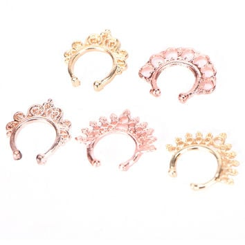 fake nose ring cz Crystal septum No Piercing clicker faux clip non pierced Small Hoop ring Women Body jewelry Silver rose gold