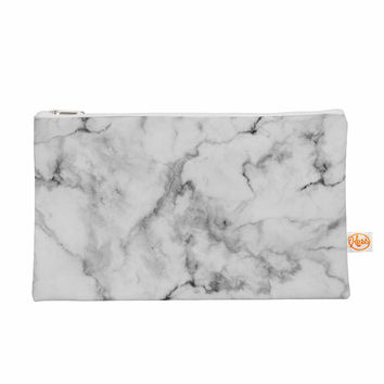 "Kess Original ""White Marble"" Gray White Everything Bag"