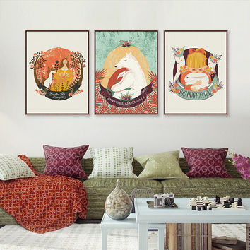 Triptych Kawaii Bear Rabbit Animal Love Hug Fairy Tale A4 Art Print Poster Wall Picture Canvas Painting Girl Room Decor No Frame