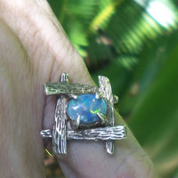 Opal and Sterling Silver Vintage Ring, Custom Styled Handmade Sterling Silver Opal Ring, Size 6.5 Ring, Vintage Jewelry