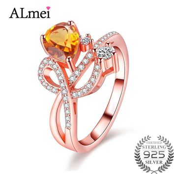 Almei 1.3ct Citrine Silver 925 Costume Zircon Jewelry Rose Gold Color Rings for Women Ringen Anillos Mujer with Box 40% FJ006