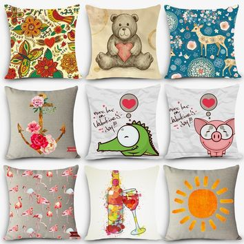 Cheap price High quality print pillow car seat linen Nordic Vintage outdoor chair home decor cartoon painting cushions MYJ-H9