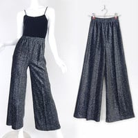 Vintage 70s High Waisted Shimmering Silver Wide Leg Pants - Size 6 Small - Womens Glam Palazzo Disco Pants in Black and Metallic Silver