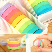 10 Colorful Mini Washi Tape Set, Rainbow Washi Tape (4A-1)