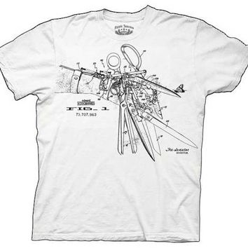 Edward Scissorhands Patent Hand White Adult T-shirt