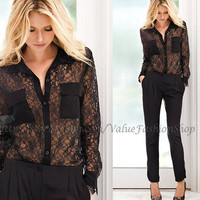 Womens Vintage Lace Crochet see through Fitted Button down Club Shirt Top Blouse