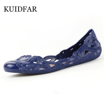 KUIDFAR Women Sandals 2017 Summer New Candy Color Women Shoes Stappy Beach Valentine Driving shoes Jelly Shoes Woman Flats