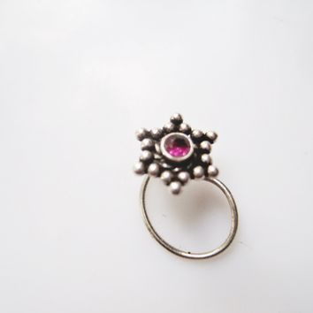 Indian Nose Ring Sterling Silver and Amethyst Nostral Screw Piercing