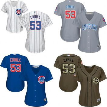 2016 World Series Champions patch Chicago Cubs Womens #53 Trevor Cahill jerseys Cubs Baseball Jersey/Shirt Lasies Stitched Size S-2XL