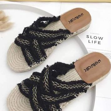 Hemp Braided Slippers - Black