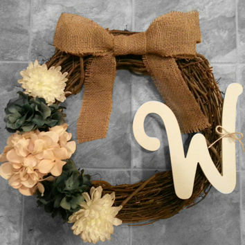Grapevine Wreath with White Monogram, Hydrangeas & Dahlias with a Burlap Bow