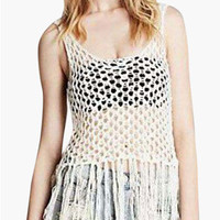 White Sleeveless Tassel Knitted Top