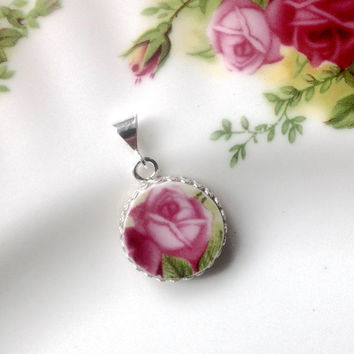 Royal Albert, Upcyled Jewelry, Broken China Jewelry Old Country Roses, Pink Wedding Necklace, Repurposed China, Pink Vintage China