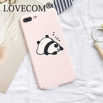 Cartoon Cute Pink Panda Frosted Hard PC Phone Case For iPhone 7 For iPhone 5 5S SE 6 6S 7 Plus Phone Back Cover Coque YC2144