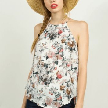 Garden Party Floral Chiffon Halter Top