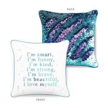 CONFIDENCE Mermaid Pillow w/ Aqua & Purple Sequins - COVER ONLY (Inserts Sold Separately)